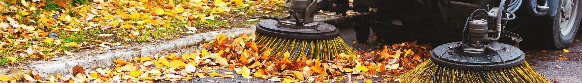 Zamiatarka sprząta liście z jezdni